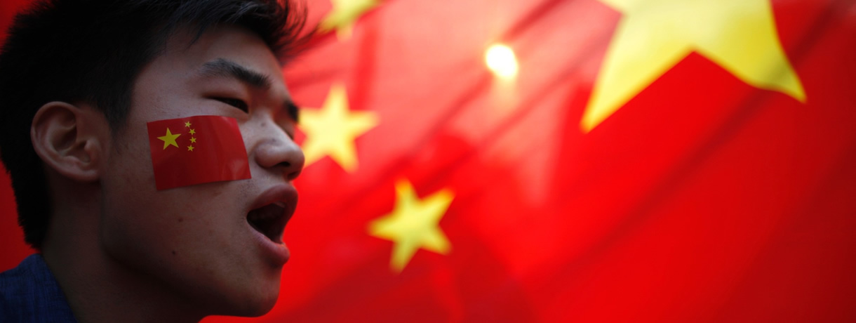 Chinese boy with Chinese Flag:Learn Chinese language