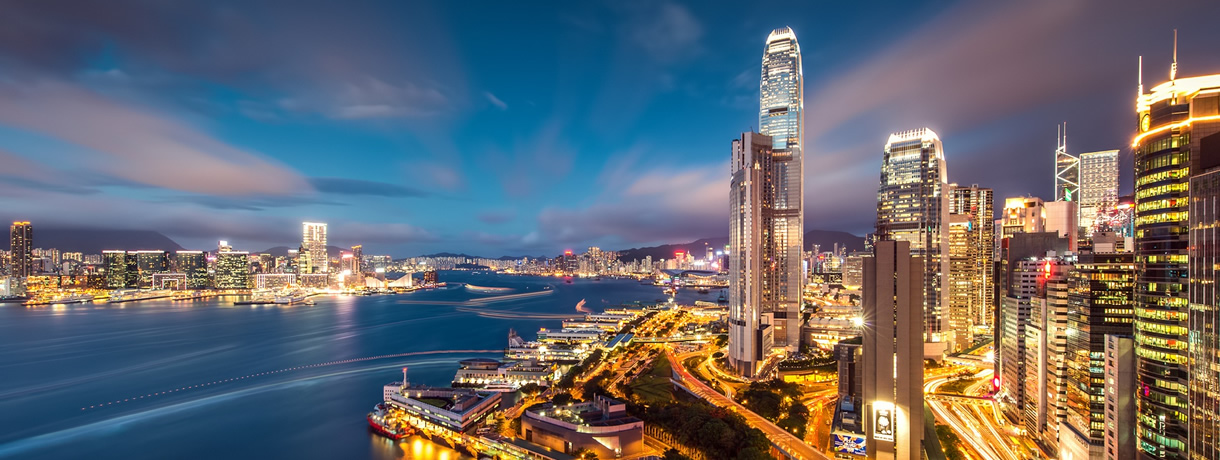 Learn about Chinese business, Hong Kong at night